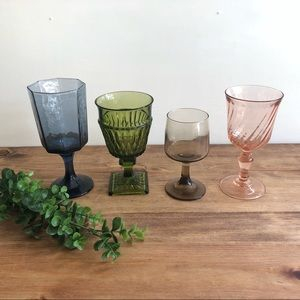 Set of 4 Mismatched Colorful Water Wine Goblets